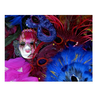 Cartão Postal Máscara e penas do carnaval