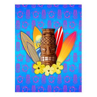 Cartão Postal Máscara e prancha de Tiki