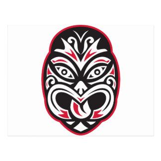 Cartão Postal máscara maori do tatuagem do moko do tiki