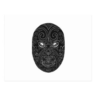 Cartão Postal Máscara maori Scratchboard