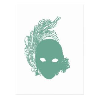 Cartão Postal Máscara teatral verde