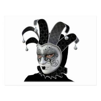 Cartão Postal Máscara Venetian preta de Carnivale no perfil