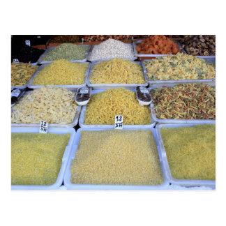 Cartão Postal Massa, cereal, cesta, comida italiana, mercado