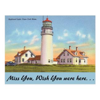 Cartão Postal Massachusetts, luz das montanhas, Cape Cod