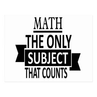 Cartão Postal Matemática. O único assunto que conta. Piada da