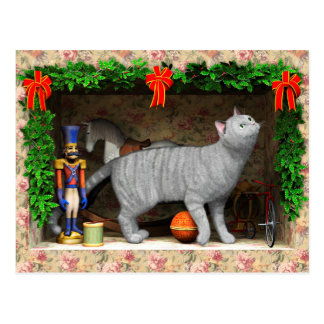 Cartão Postal Material do gato e do Natal
