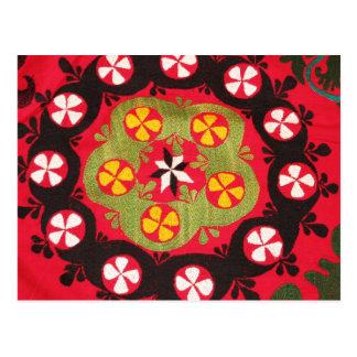 Cartão Postal Matérias têxteis turcas tribais antigas de Coloful