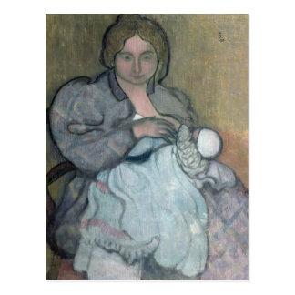 Cartão Postal Maternidade com um vestido branco