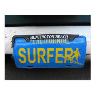 Cartão Postal Matrícula do surfista de Califórnia