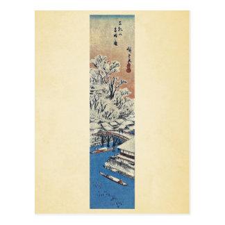 Cartão Postal Matsuchiyama, após a neve por Ando, Hiroshige
