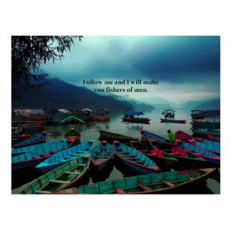 Cartão Postal Matthew 4,19 barcos cristãos do verso da bíblia da