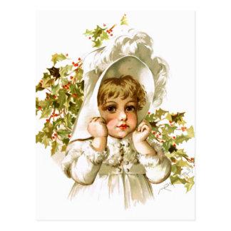 Cartão Postal Maud Humphrey: Menina do outono com azevinho