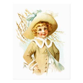 Cartão Postal Maud Humphrey: Menina do primavera sob o Catkin do