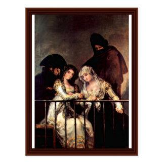 Cartão Postal Maya em um balcão por Francisco De Goya