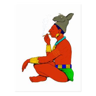 Cartão Postal Maya índio cigarro fumam