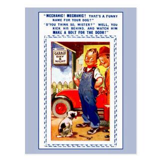 Cartão Postal Mecânico retro engraçado do vintage, garagem, cão