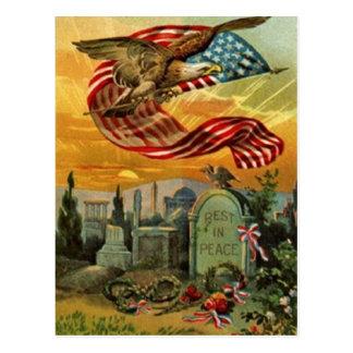 Cartão Postal Memorial Day americano do vintage da arte