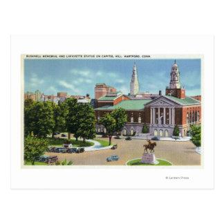 Cartão Postal Memorial de Bushnell, estátua de Lafayette