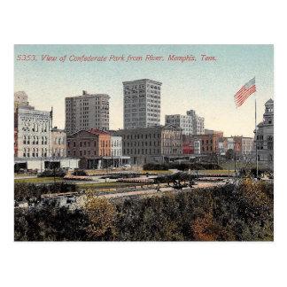 Cartão Postal Memphis, Tennessee, parque confederado, vintage