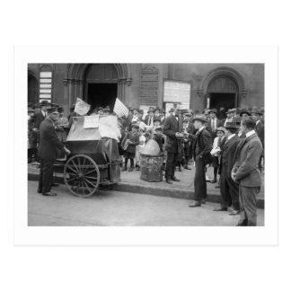 Cartão Postal Mendigo da greve Labor, 1900s adiantados