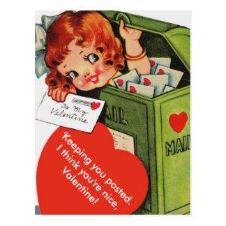 Cartão Postal Menina alterada bonito do vintage em namorados da