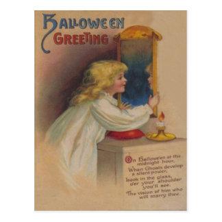 Cartão Postal Menina bonito do espelho do Bloody Mary