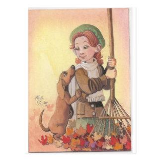 Cartão Postal Menina com cão de Daschund
