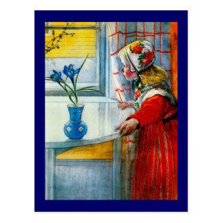 Cartão Postal Menina com íris azul