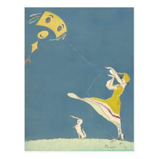 Cartão Postal Menina com papagaio e cão
