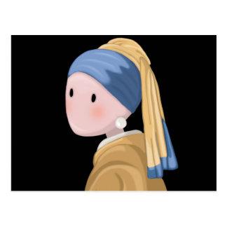 Cartão Postal Menina com um brinco da pérola