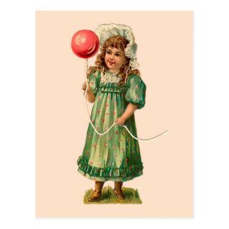 Cartão Postal Menina com vintage do balão