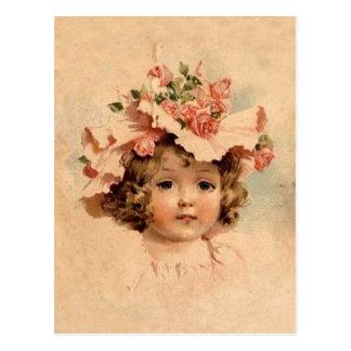 Cartão Postal Menina cor-de-rosa da capota da páscoa do vintage