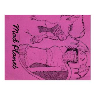 Cartão Postal Menina cor-de-rosa do fantasma e urso irritado