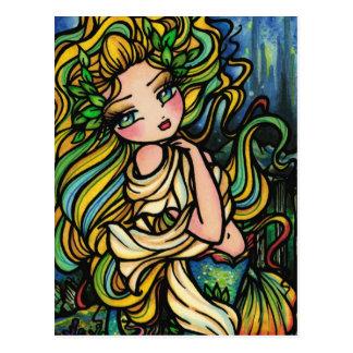 Cartão Postal Menina da arte da fantasia da sereia da cidade de