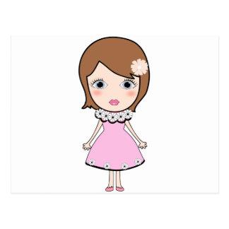 Cartão Postal Menina da boneca do cabelo curto