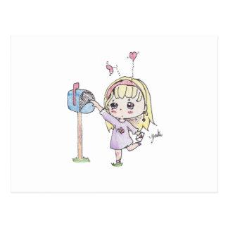 Cartão Postal menina da caixa postal