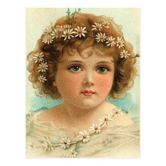 Cartão Postal Menina da corrente de margarida