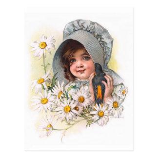 Cartão Postal Menina da margarida de Maud Humphrey