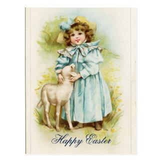 Cartão Postal Menina da páscoa do vintage