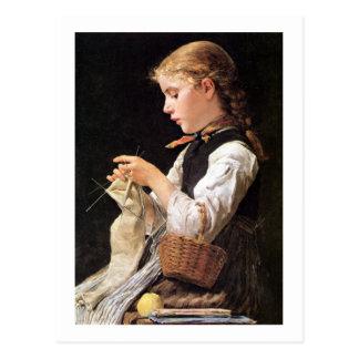 Cartão Postal Menina de confecção de malhas de Strickendes