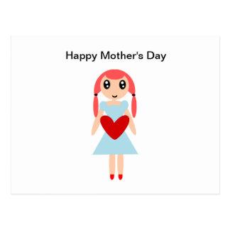 Cartão Postal Menina de dia das mães feliz com coração