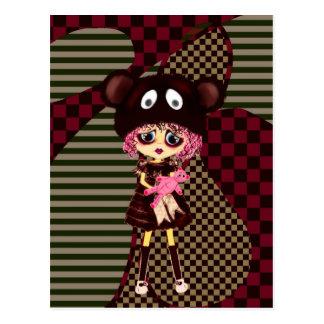 Cartão Postal Menina de Kawaii porque tão triste? Criança de