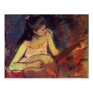 Cartão Postal Menina de Mary Cassatt- com um banjo