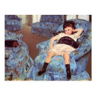 Cartão Postal Menina de Mary Cassatt em belas artes azuis da