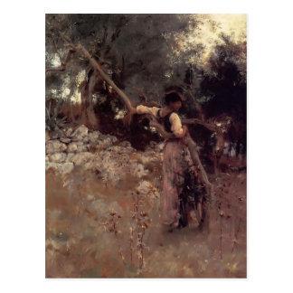 Cartão Postal Menina de Sargent- Capri do cantor de John