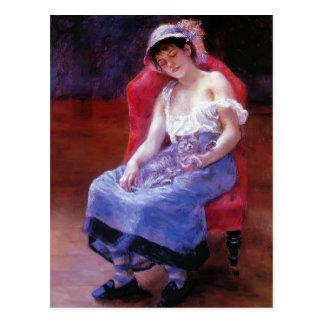 Cartão Postal Menina de sono de Pierre Renoir- (menina com um