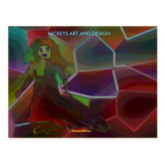Cartão Postal Menina de vidro colorida
