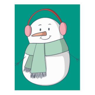 Cartão Postal Menina do boneco de neve