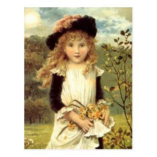 Cartão Postal Menina do coletor do Daffodil da arte do Victorian