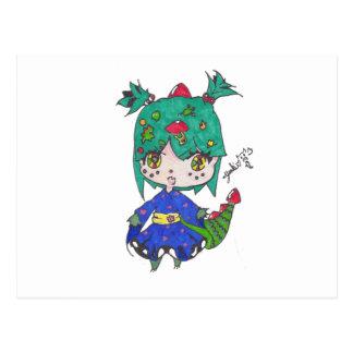 Cartão Postal menina do dragão editada